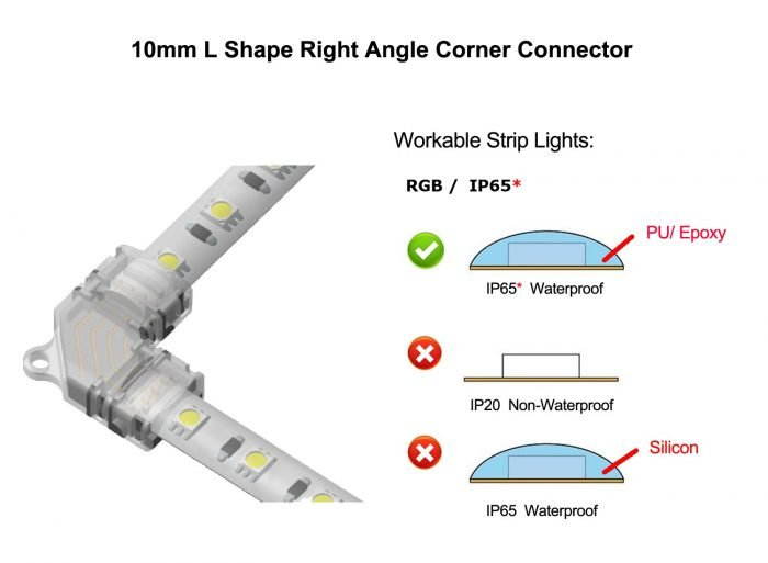 4 Pin RGB Led Light Connectors 10mm L Shape Right Angle Corner Connector Solderless Adapter Terminal for 5050 Multicolor Waterproof LED Strip Lights