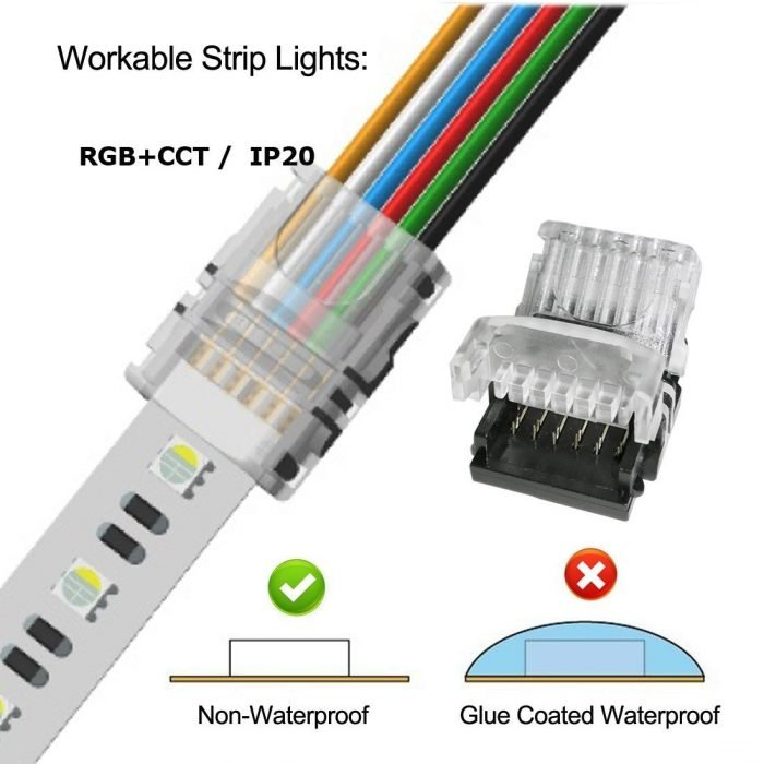 RGBWW 6 Pin LED Strip Connectors 12mm RGB+CCT Connector - DIY Strip to Wire Solderless Quick Connection for 12v 24v Non-Waterproof IP20 RGBCCT Led Tape Lights (Pack of 10) (1)