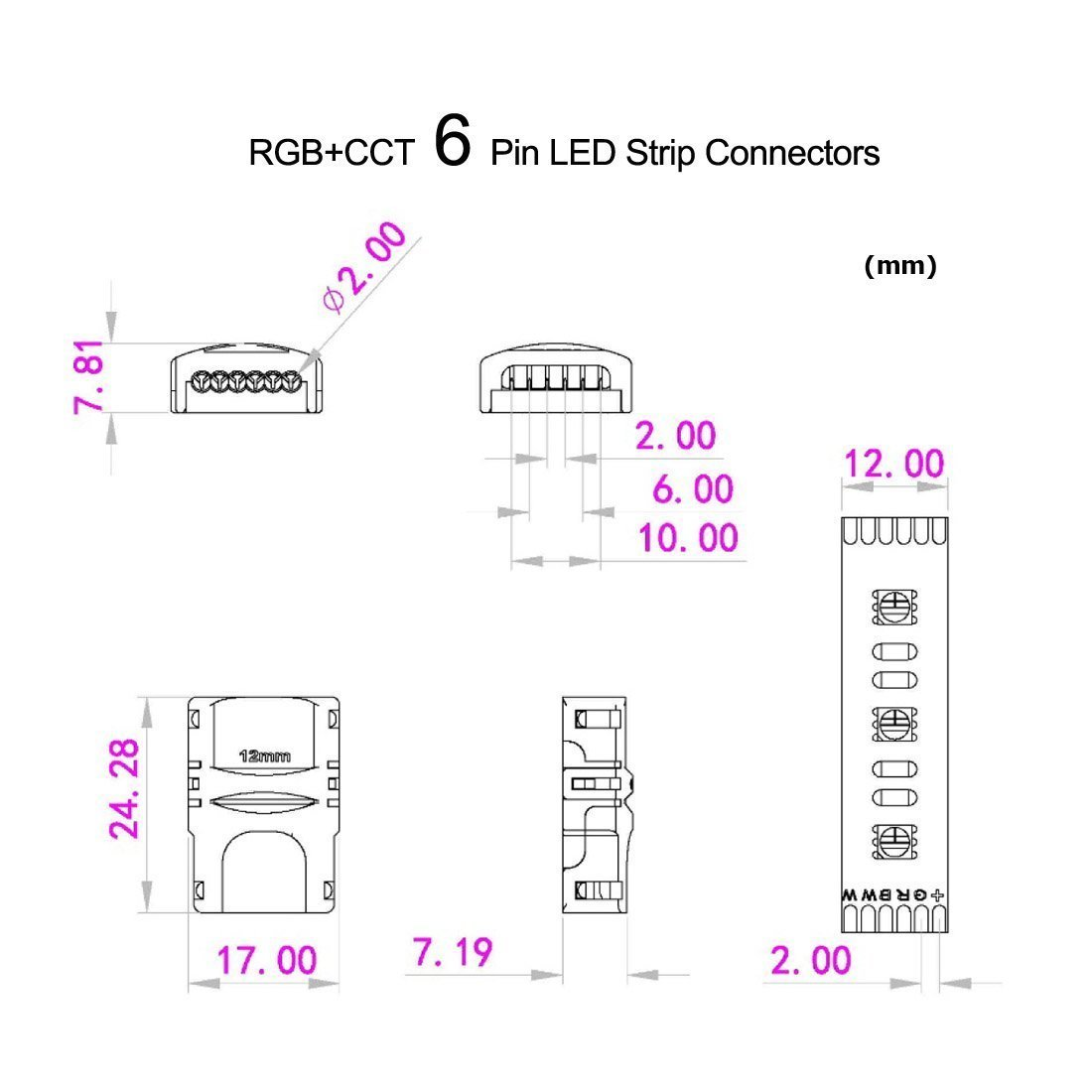 RGBWW 6 Pin LED Strip Connectors 12mm RGB+CCT Connector - DIY Strip to Wire Solderless Quick Connection for 12v 24v Non-Waterproof IP20 RGBCCT Led Tape Lights
