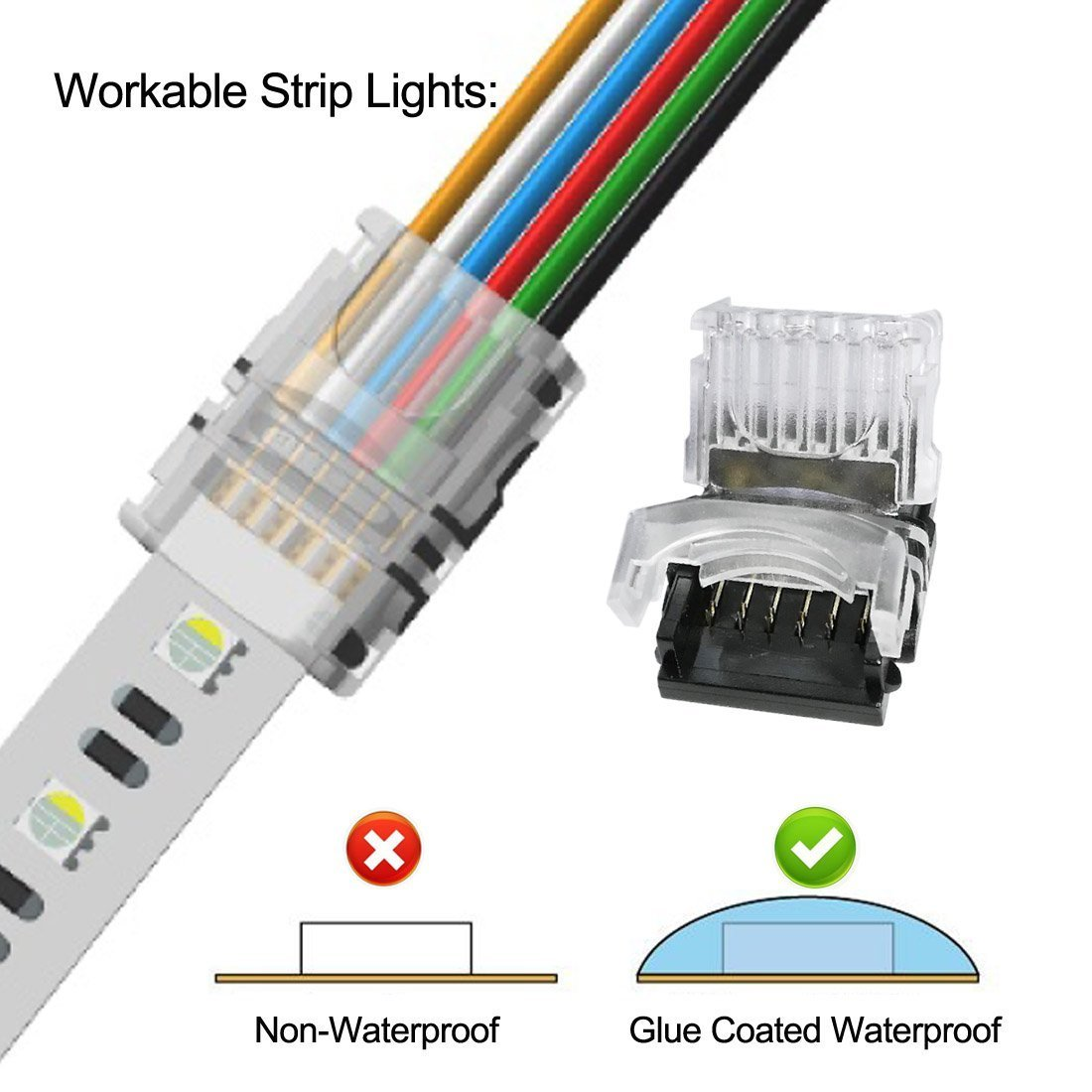 6pin led light strip connectors rgbww connector
