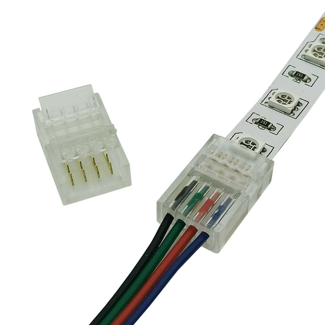 4-Pin RGB LED Strip Light Connectors 10mm Unwired Gapless Solderless Adapter Terminal Extension Tape to Tape Connection for SMD 5050 Multicolor LED Strip Lights 12V 24V Non-Waterproof alightings.com